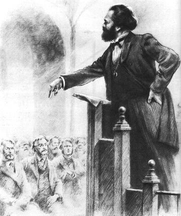 Marx addressing the International