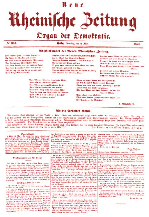 Front page of final issue of Neue Rheinische Zeitung with leading article on its suppression