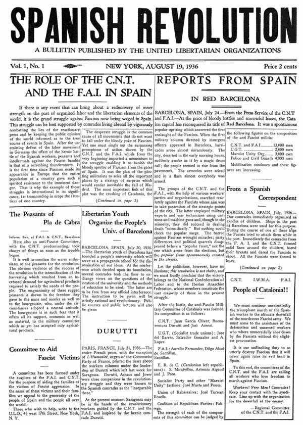 Spanish Revolution — English Language Paper of the POUM