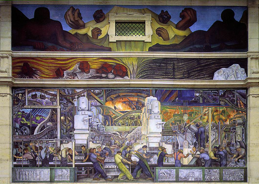 Mexican muralists exhibits for Diego rivera detroit mural