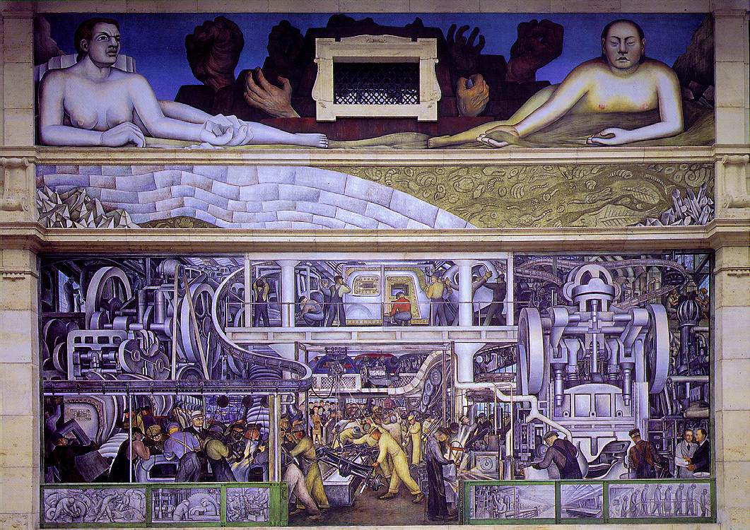 Mexican muralists exhibits for Diego rivera mural paintings